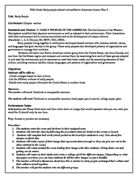 Fifth Grade Early people shared culture/Native American Lesson Plan 3