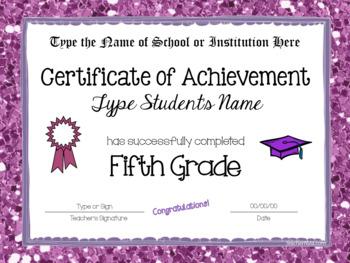 Fifth Grade Editable Graduation Certificates - Glitter Borders