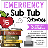 Fifth Grade Emergency Sub Activities Unit