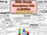 Fifth Grade Emergency Sub Activities Unit from Lightbulb Minds