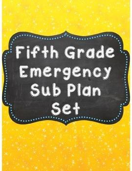 Fifth Grade Emergency Sub Plan Worksheet Set *NO Prep*