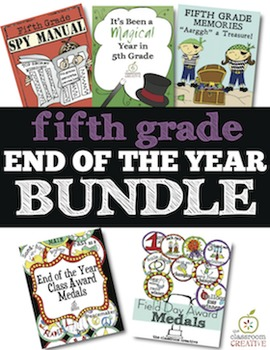 5th Grade End of the Year Bundle: Memory Books and Awards