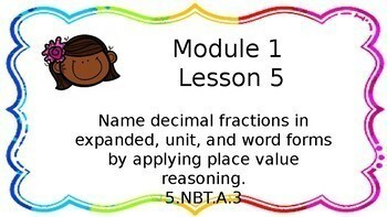 Fifth Grade Engage NY Math Module 1 Topic B PowerPoint