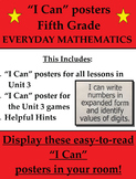Fifth Grade Everyday Mathematics I Can Statements Posters