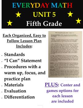 Fifth Grade Everyday Mathematics Unit 5 Lesson Plans, Centers, Games - 5th grade