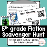Fifth Grade Fiction Library Scavenger Hunt Cards with QR Codes