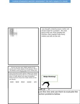 Fifth Grade Florida Standards Math Assessment NF.1.1 and 1.2