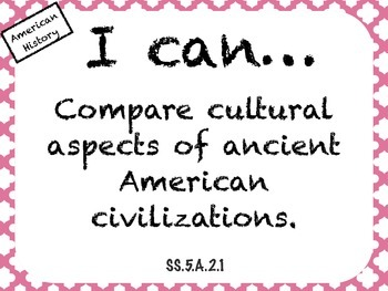 "Fifth Grade Florida Standards Social Studies ""I Can"" Posters"