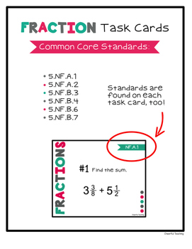 Fifth Grade Fraction Task Cards