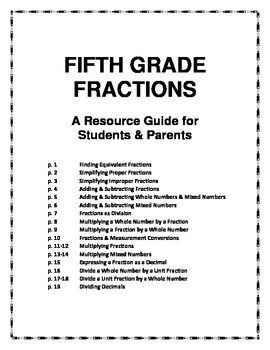 Fifth Grade Fractions: A Resource Guide for Students and Parents