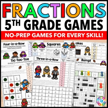 5th Grade Fraction Activities {5.NF.1, 5.NF.3, 5.NF.4, 5.NF.5, 5.NF.6, 5.NF.7}
