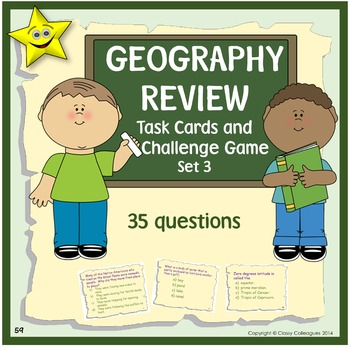 Geography Review Task Cards and Challenge Game, Set 3