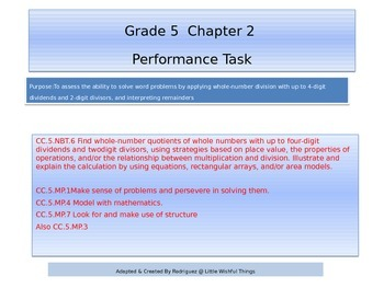 Fifth Grade  Chapter 2 Math performance task