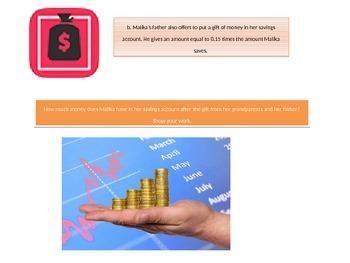 Fifth Grade  Chapter 4  Math performance task
