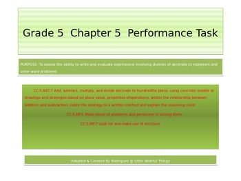 Fifth Grade  Chapter 5  Math performance task