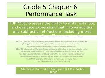 Fifth Grade  Chapter 6 Math performance task