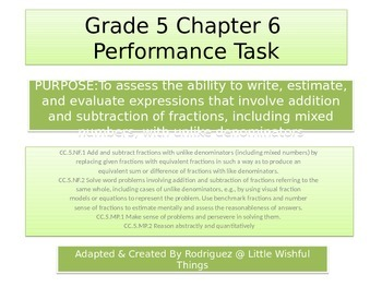 Fifth Grade  Chapter 6 Math performance task