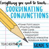 Fifth Grade Grammar and Language Unit on Coordinating Conjunctions