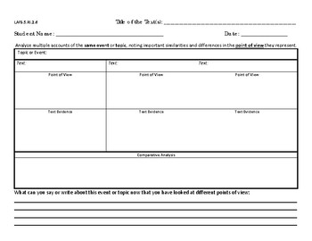Fifth Grade Graphic Organizer RI.2.6 Point of View Standard (Table)