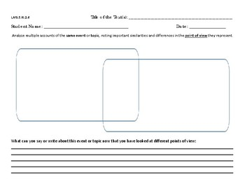 Fifth Grade Graphic Organizer RI.2.6 Point of View Standard (VENN)