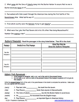 Fifth Grade HM Story Review Sheets