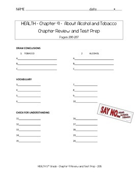 Fifth Grade Harcourt HEALTH Chapter 9 Tobacco and Alcohol Test Prep Study Guide