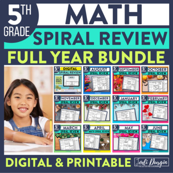 5th Grade Math Worksheets Spiral Review Digital and Printable for Whole Year
