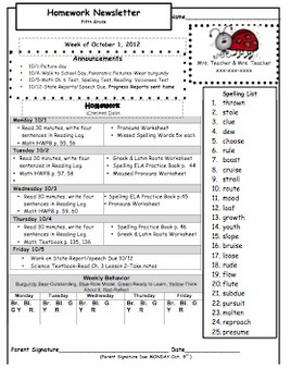 Fifth Grade Homework Newsletter