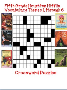 Houghton Mifflin Reading 5th Grade Vocabulary Crossword Puzzles Themes 1-6