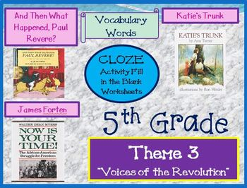 Houghton Mifflin Reading 5th Grade Theme 3 Cloze Worksheets