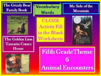 Houghton Mifflin 5th Grade Theme 6 Cloze Worksheets