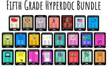 Fifth Grade Hyperdoc Bundle: Science, US History, Reading, & Writing Skills
