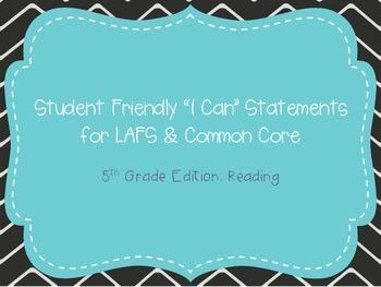 "Fifth Grade ""I Can"" Statements LAFS & Common Core Reading"