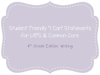 """Fifth Grade """"I Can"""" Statements LAFS & Common Core Writing Plain"""