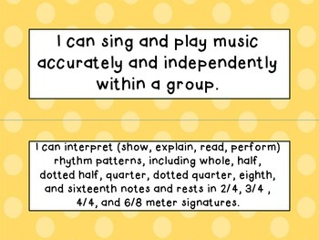 Fifth Grade I Can Statements (NC Music) - Shades of Orange Dots