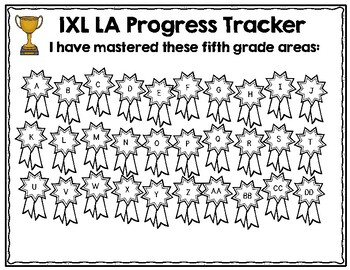 Fifth Grade IXL Language Arts Tracker
