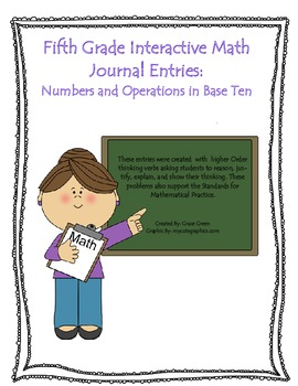 Fifth Grade Interactive Math Journal Entries: Numbers and Operations in Base Ten
