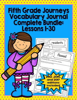 Fifth Grade Journeys Vocabulary Journal Complete Bundle 2012-2017 Editions