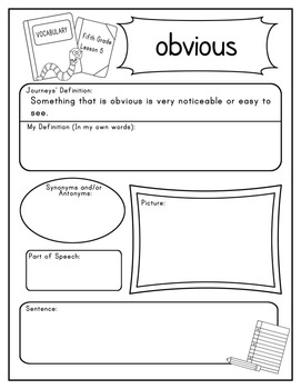 Fifth Grade Journeys Vocabulary Journal Pages Lessons 1-15 Print and Go