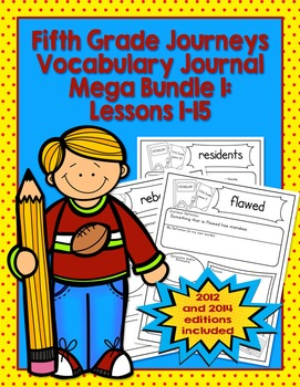 Fifth Grade Journeys Vocabulary Journal Pages Lessons 1-15