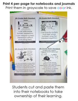 Common Core Standards I Can Statements for 5th Grade Math - Full Page