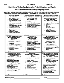 Fifth Grade Life Science Tic-Tac-Toe Culminating Project Sheet and Rubric