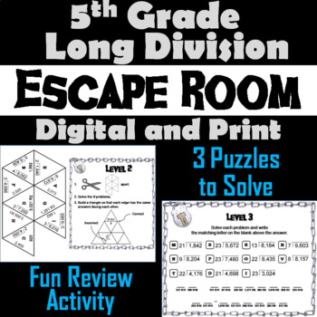 Fifth Grade Long Division with Remainders Activity: Escape Room Math