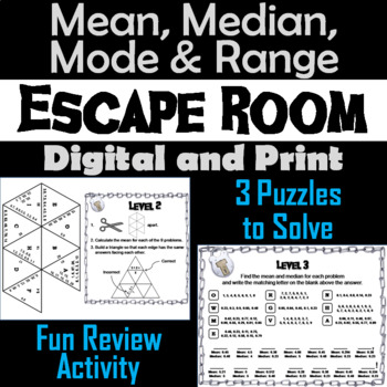 mean median mode and range activity escape room math game tpt