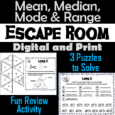 Mean, Median, Mode, and Range Activity: Escape Room Math Game (Central Tendency)