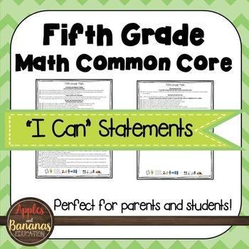 """Fifth Grade MATH Common Core """"I Can"""" Statements"""