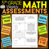 5th Grade Math Assessments | Weekly Spiral Assessments for ENTIRE YEAR