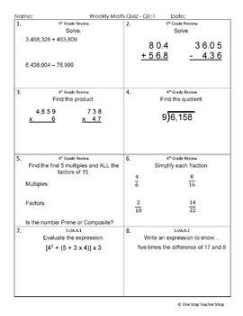 5th Grade Math Assessments | 5th Grade Math Quizzes