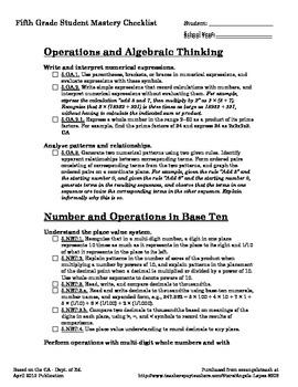 Fifth Grade Math CCSS + CA Student Mastery Checklist