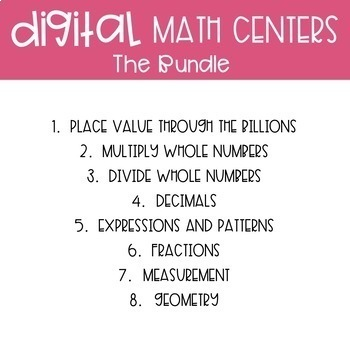 Fifth Grade Digital Math Centers Bundle | Distance Learning